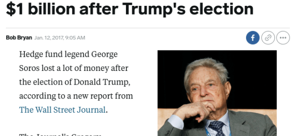 Soros Loses Billion After Trump Win